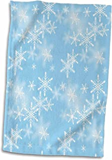 3D Rose Floating White Snowflakes Against A Light Blue Background Hand/Sports Towel, 15 x 22