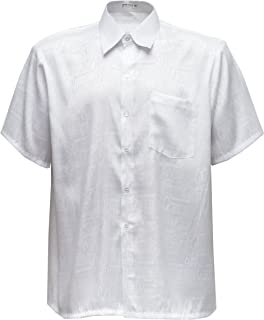Thai Silk Men's Shirt Short Sleeve Jacquard Pattern