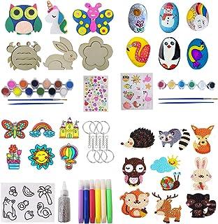 Paint Craft Kits for Kids, 5 in 1 Craft Activity Sets with Plaster Wood Diamond Painting Window Art & Sticker Suncatchers,...