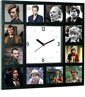 Dr. Who History of Doctors Clock with 12 Doctor Photos and Years