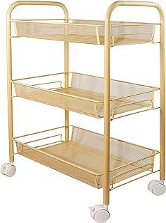 Aewio 3-Tier Metal Rolling Utility Cart Storage Organizer Shelf with Lockable Wheels for Home Kitchen Bedroom Bathroom Liv...