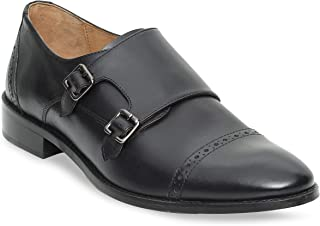 Urbane Shoes Co Mens Oxford Shoes Genuine Cowhide Leather Cap Toe Slip On Loafer Double Monk Strap Dress Shoes