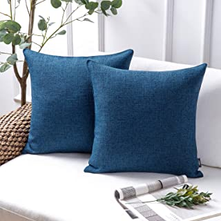 Phantoscope Throw Pillow Cover Textured Faux Linen Series Decorative Cushion Covers for Home Decor Sofa Pack of 2, Navy Bl...