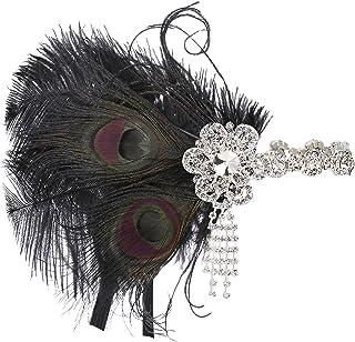 ArtiDeco 1920 Diadema de Pluma de Pavo Real Cinta para el Pelo con Cristal Vintage Años 20 Flapper Pelo Banda de Pluma Disfraz Gatsby Accesorio