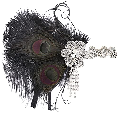 BABEYOND 1920s Headband 1920s Flapper Headpiece Vintage Headband with Crystal Great Gatsby Accessories for Pageant Themed Party Wedding