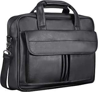 Men's Leather Messenger Bag, 15.6 Inches Laptop Briefcase Business Satchel Computer Handbag Shoulder Bag for Men (Black)