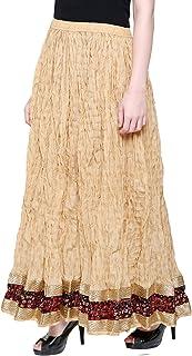 DAMEN MODE Women Golden Printed Designer Wrinkled Crush Cotton Skirt