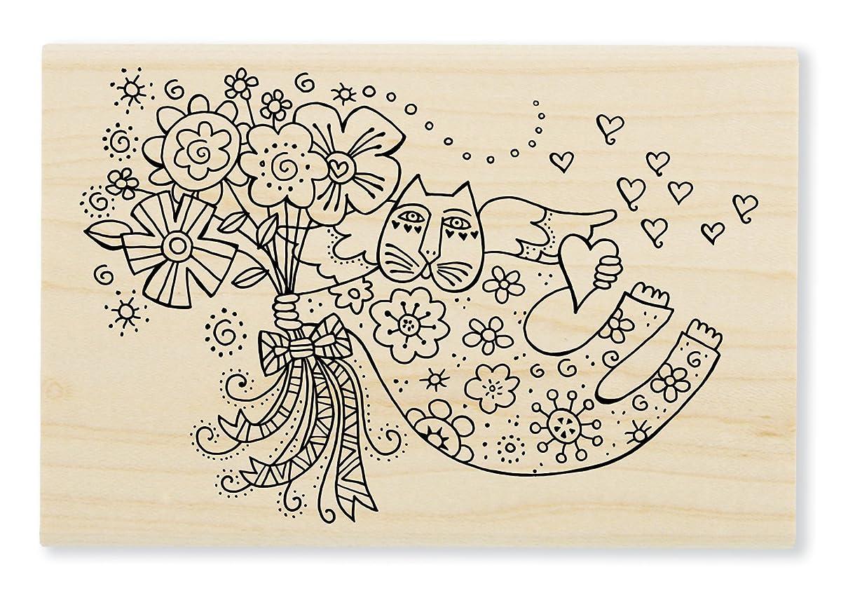 Stampendous LBP010 Laurel Burch Wood Stamp, Love Cat Angel