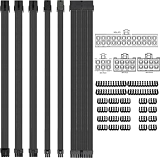 Fstop Labs Braided ATX Sleeved Cable Extension Kit for Power Supply Cable Kit, PSU Connectors, 24 Pin, 8 Pin, 6 Pin 4 + 4 ...