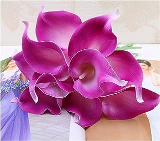 tutu.vivi 10pcs Calla Lily Bridal Wedding Bouquet Head Latex Real Touch Artificial Flower Home Party Wedding Decor Dark Fuschia