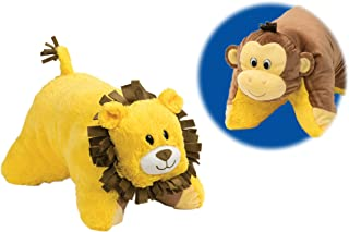 Flipazoo Flip 'N' Play Friends Plush Toy & Pillow in 1 (Monkey/Lion) Instantly Transforms for Hours of Playtime and Naptime Fun