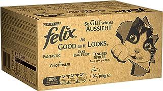 Purina Felix Le Ghiottonerie - Comida para Gatos con Ternera, Pollo, Bacalao y atún, 80 Sobres de 100 g Cada una