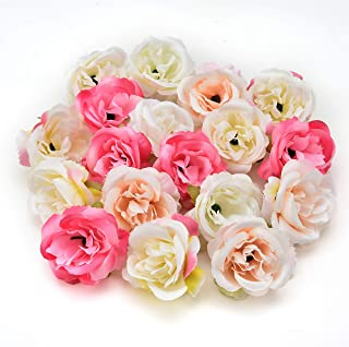 fake flowers heads Bulk Silk Rose Bud Artificial Flower for Wedding Party Home Plants Decoration Mariage Cloth Hat Accessories Fake Flowers 30pcs/lot 4cm (Multicolor)
