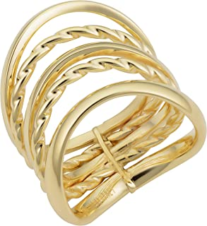KoolJewelry 14k Yellow Gold High Polish Twist Wave Five Layer Stacked Ring (20 mm)