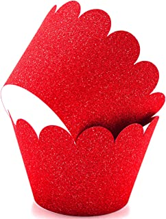 Glitter Cupcake Wrappers Adjustable (100, Red)
