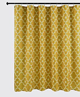 Biscaynebay Textured Fabric Shower Curtain 72 Inches by 72 Inches, Gold Morocco Pearl Printed Bathroom Curtains