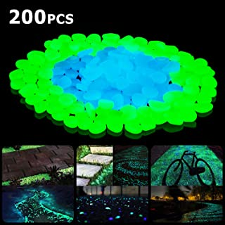 SUNNEST Glow in The Dark Garden Pebbles,200 Pcs Glow Decorative Stones Rocks,Luminous Pebbles for Outdoor Decor, Garden Lawn Yard, Aquarium, Walkway, Fish Tank, Pathway, Driveway
