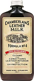 Chamberlain's Leather Milk - Auto Refreshener No. 4 - Acondicionador y Limpiador Natural - para el Cuero del Coche - Protege contra los Rayos UV - con Almohadilla - 0.35 L