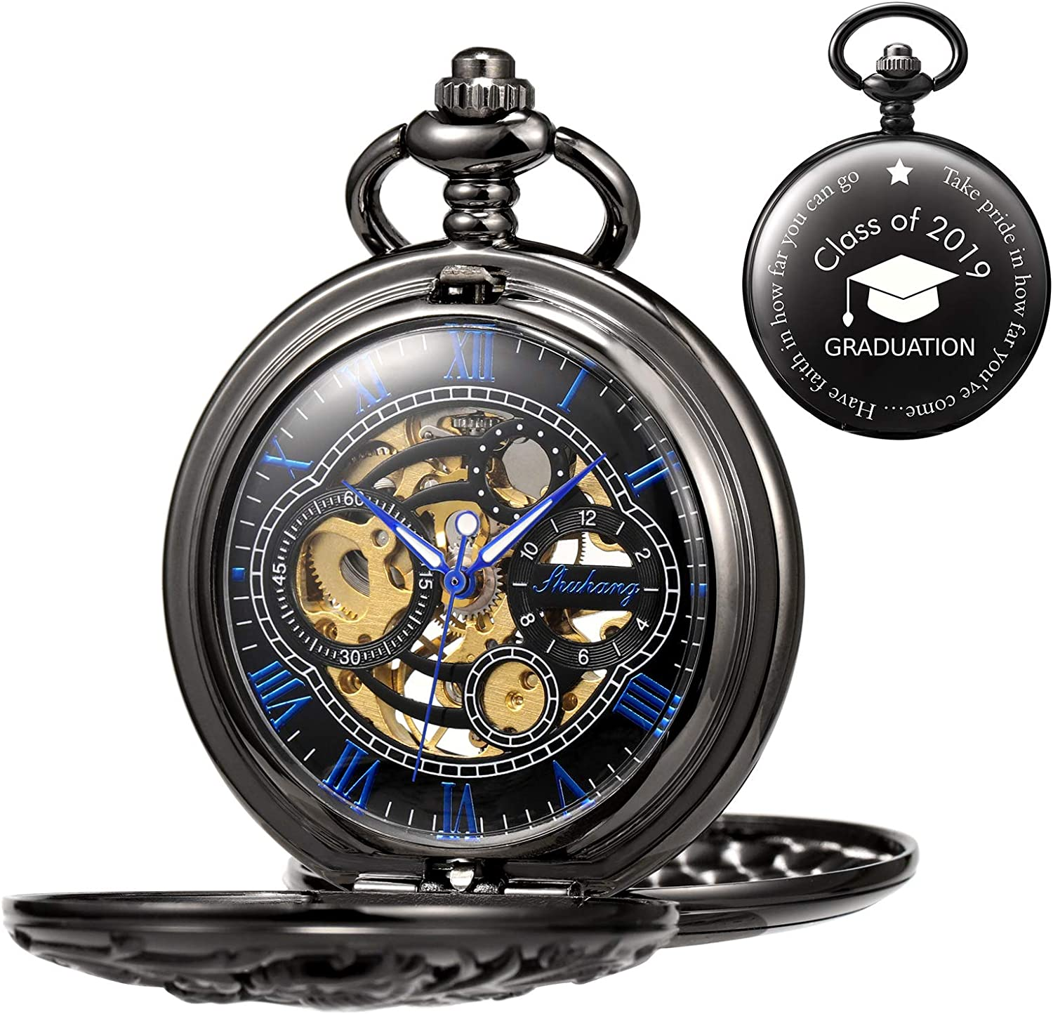 TREEWETO Antique National uniform free shipping Regular discount Engraved Mechanical Pocket Lucky Watch H Dragon