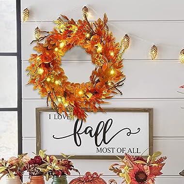 SAND MINE Fall Door Wreath, Thanksgiving Harvest Door Wreath for Front Door, Ideal for Fall Harvest Thanksgiving Autumn Decor