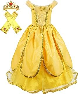 Cokos Box Girls Belle Princess Birthday Dress Costume and Gloves Crown Tiara Accessories