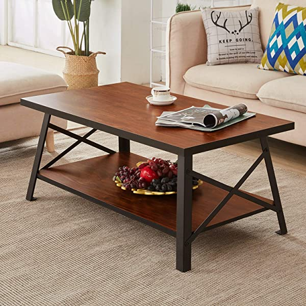 VECELO Vintage Coffee Table For Living Room Rustic Cocktail Table With Storage Open Shelf Black Metal Frame Brown