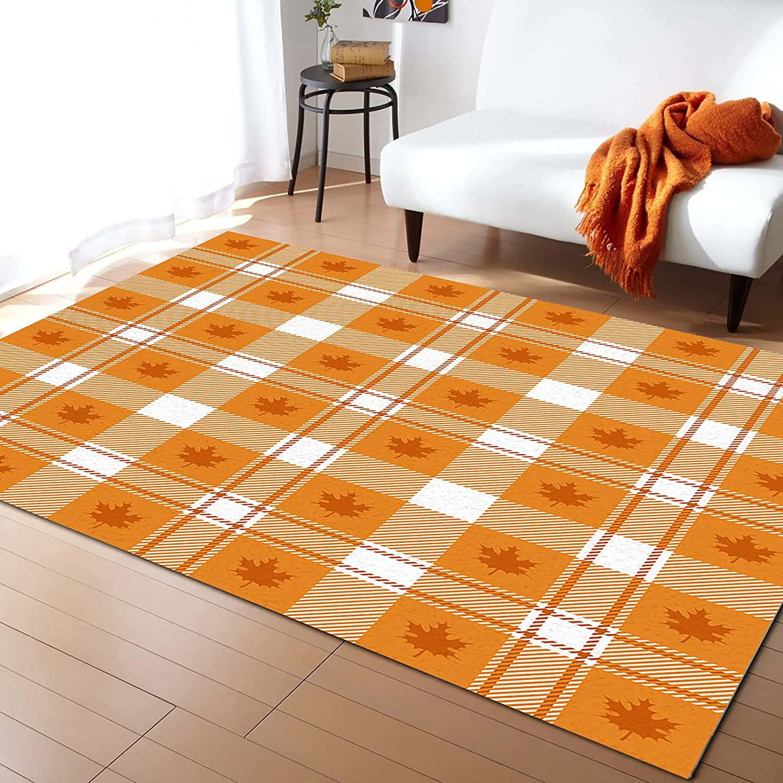 Popular Olivefox 5x7 Feet Floor Safety and trust Mat Area Thanksgiving Lattic Orange Rug