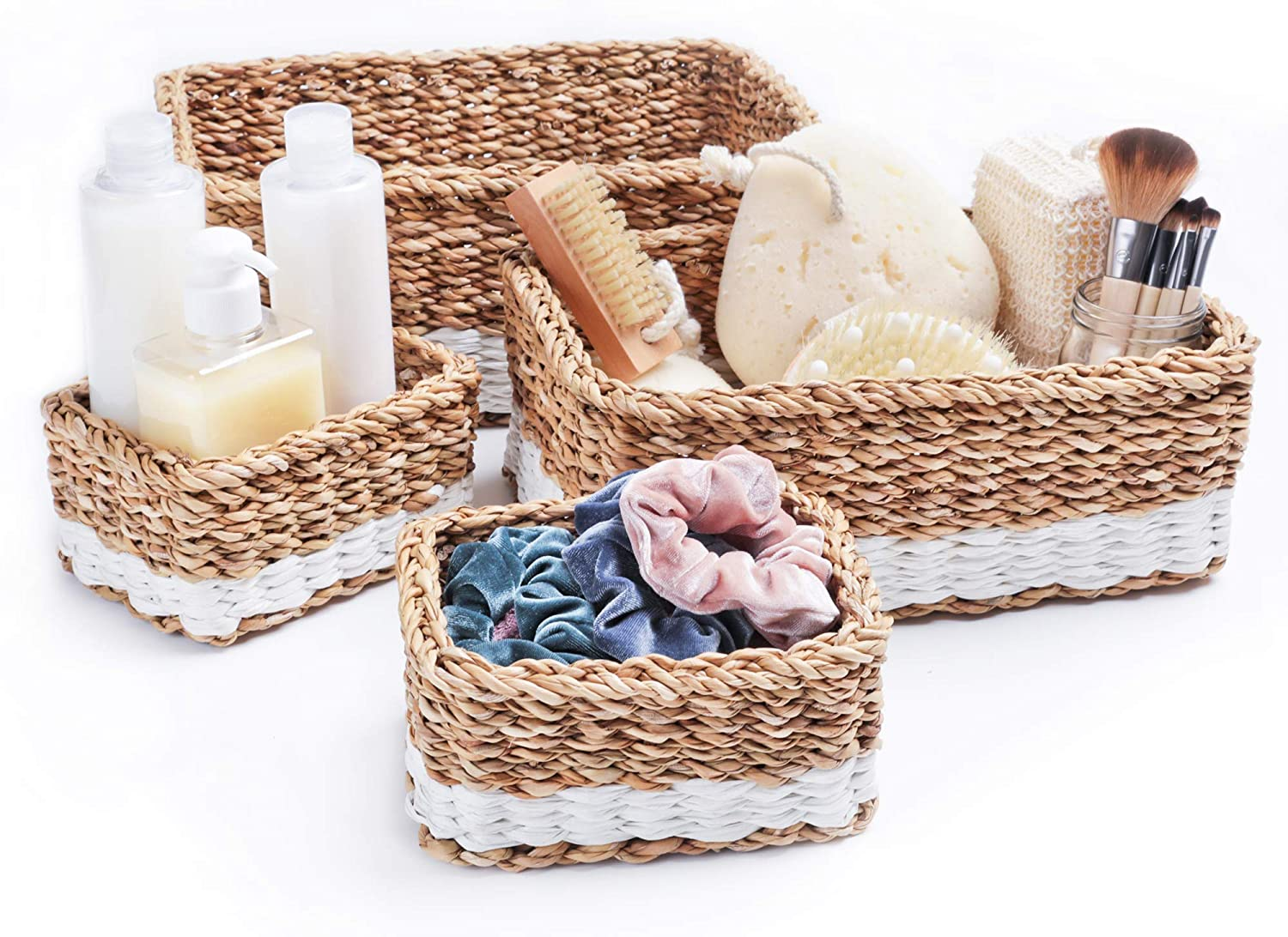 Woven Rectangle Seagrass Basket Set for Home - 4 Decorative Storage Baskets for Bathroom Organizing and Storage - Eco-Friendly Nesting Baskets with Cotton Dust Bag for Coastal and Beach Decor