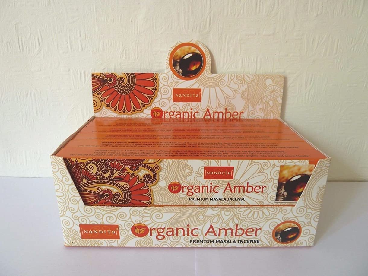 公式獲物不一致Nandita Amberプレミアム有機Masala Incense Sticks 15?gm X 12パケット