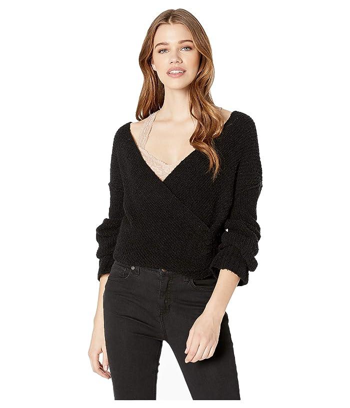Free People Sensual Wrap Sweater (Black) Women