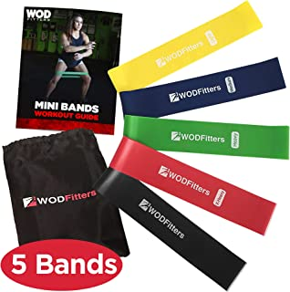 WODFitters Mini Bands Set - 5 Exercise Workout Resistance Bands - Choose 10