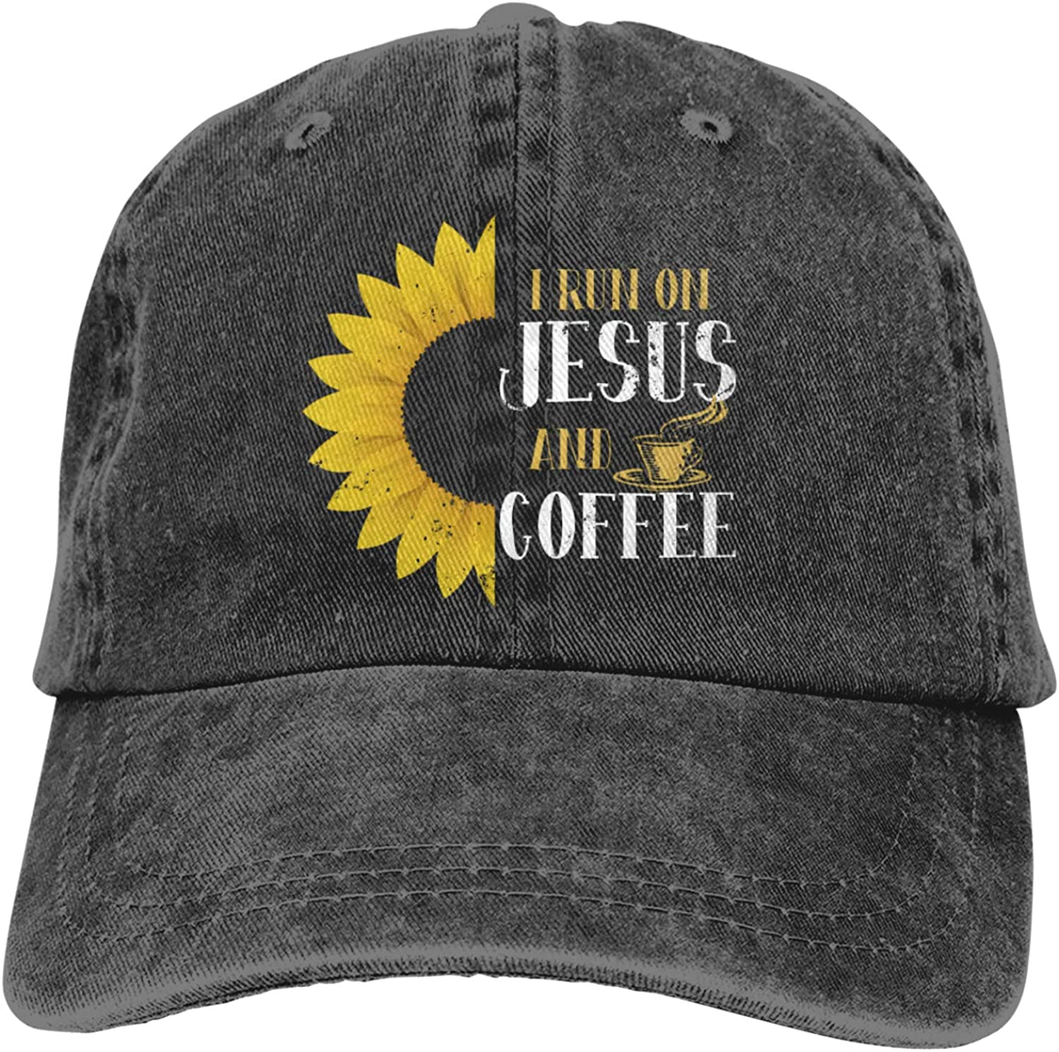 FOYOO Sunflower Jesus i Drink Coffee Unisex and Personalized Cowboy hat with Adjustable Sunshade