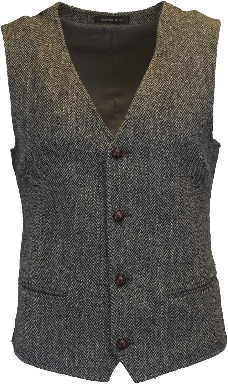 Walker & Hawkes - Mens Classic Scottish Harris Tweed Herringbone Country Waistcoat Vest - Steel Gray - 38-48