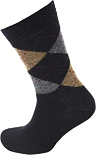 Viyella Made in England Mens Black Argyle Wool Socks