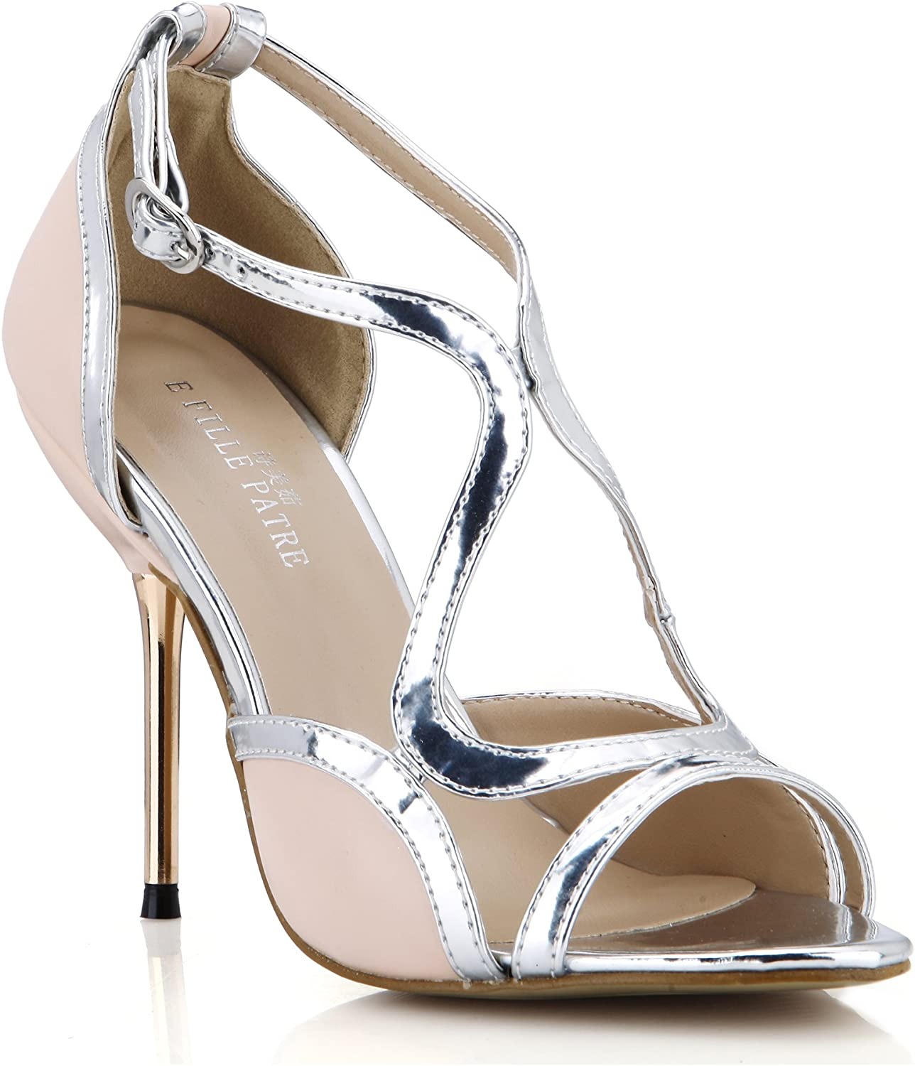 Dolphin Women Silver Pink Open Toe High Heel Pumps Work Cocktail Party shoes Carpet Dress Sandals SM000040