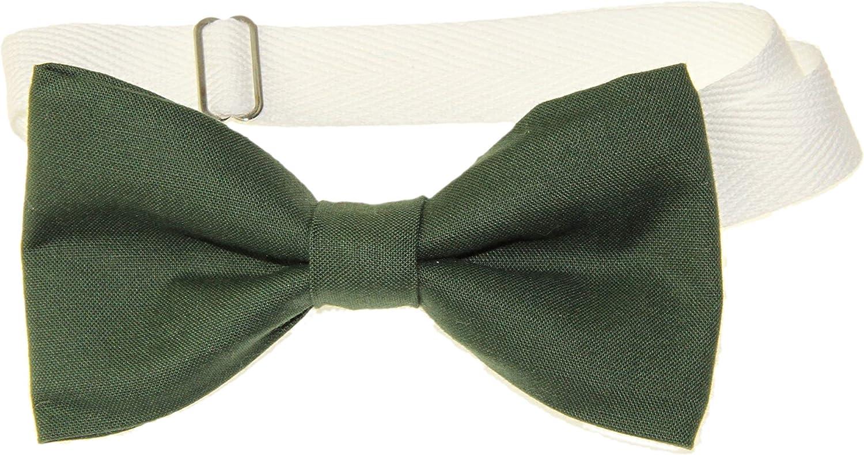 Men's Hunter Green Pre-Tied Cotton Bow Tie On Adjustable Twill Strap Bowtie