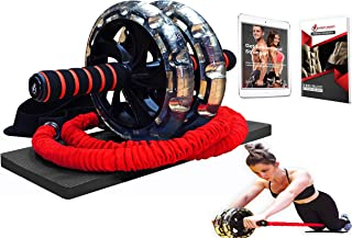 INTENT SPORTS Multi Functional Ab Wheel Roller KIT with Resistance Bands, Kneepad, Workout Ebook. Abdominal Workout Wheel Roller with Large Wheels for Stability. Multi-Directional Ab Core Workout.