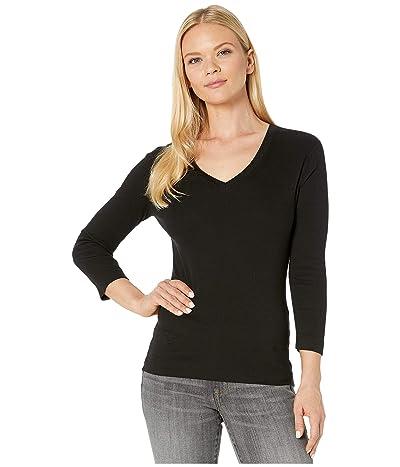 XCVI Essentials Ioda Long Sleeve V-Neck 1x1 Rib Tee (Black) Women