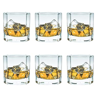 Whiskey Rocks Glasses with Heavy Base and Non-Lead Crystal for Vodka Bourbon Whisky Scotch Liquor 10 oz Set of 6 Valentines Day For Him