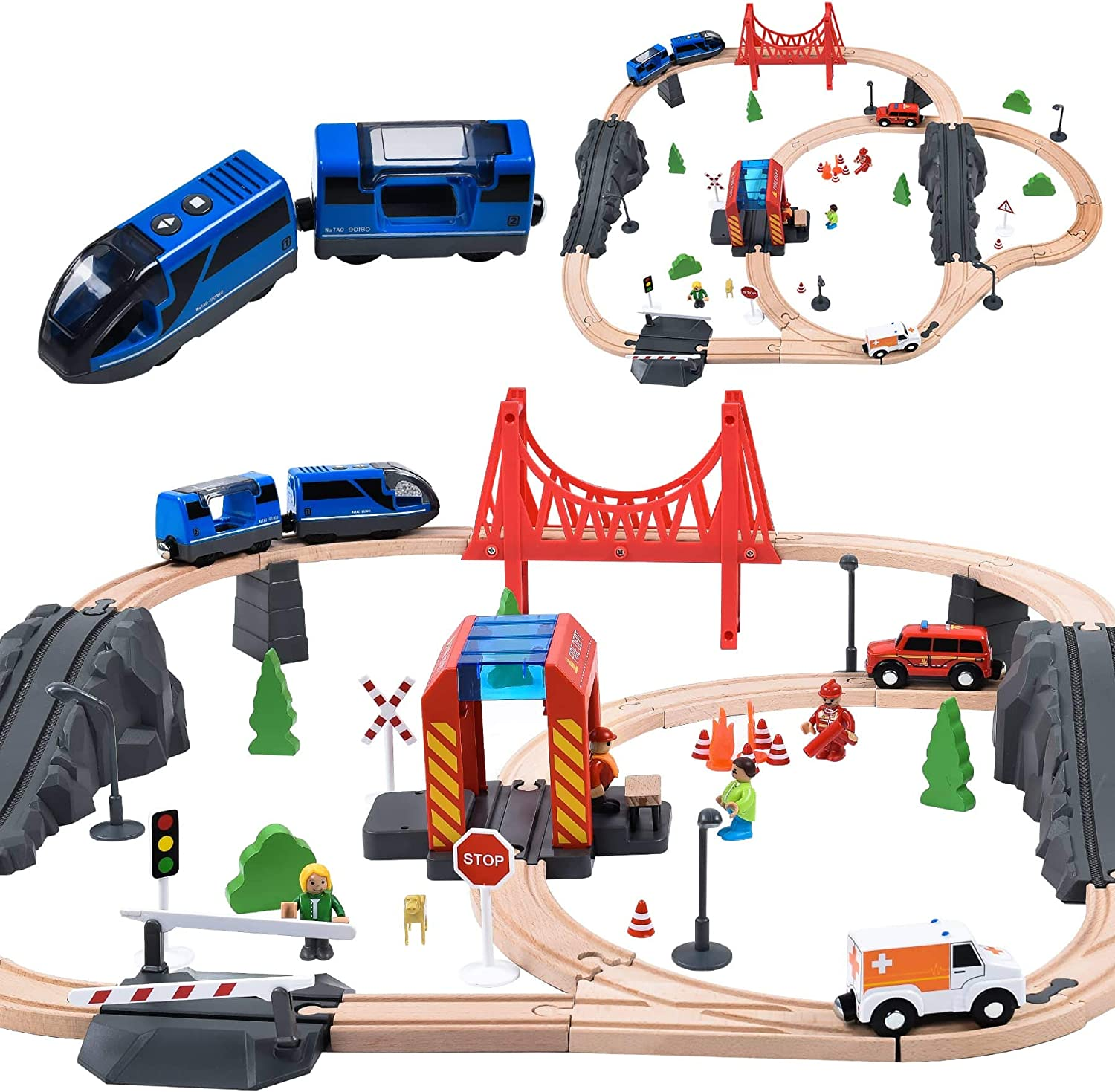 70PCS Wooden Limited time for free shipping Train Set with Cheap mail order sales Locomotive Thomas Fits Battery