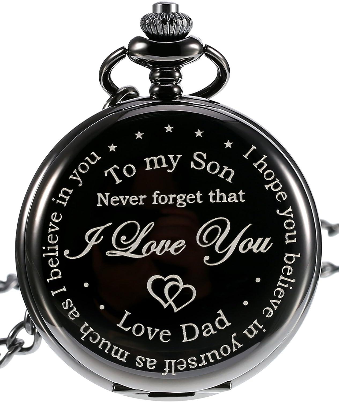 Reloj de Bolsillo-Never Forget That, Never Forget That, I Love You, Love Dad-Reloj de Bolsillo de Cuarzo de Regalo a Padre a Hijo