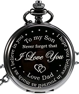 Pangda Pocket Watch to Husband Gift,Engraved Pocket Watch (Son Gifts, Black Dial)