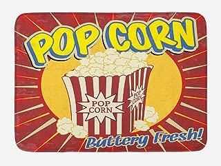 Ambesonne Retro Bath Mat, Vintage Grunge Pop Corn Commercial Print Old Fashioned Cinema Movie Film Snack, Plush Bathroom Decor Mat with Non Slip Backing, 29.5