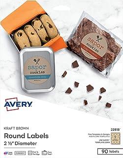"Avery Round Labels for Laser & Inkjet Printers, 2.5"", 90 Kraft Brown Labels (22818)"