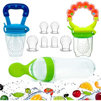 Gedebey Baby Food Feeder, Pacifier Fruit- Fresh Silicone Bottle Squeeze Spoon Frozen Fruit Teething Pacifiers Nibbler Hygienic Cover Newborn Teeth with Meshes Sizes for Baby Food Spoon