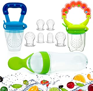 Gedebey Baby Food Feeder, Pacifier Fruit- Fresh silicone Bottle Squeeze Spoon Frozen fruit Teething Pacifiers Nibbler Hygienic Cover Newborn Teeth with Meshes Sizes Solid Nipple for Baby Food Spoon
