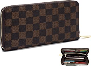 Women?s Checkered Zip Around Long Wallet and Phone Clutch - RFID Blocking with Card Holder