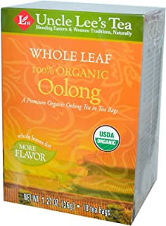 Uncle Lee s Tea 100 Organic Oolong Tea Whole Leaf 18 Tea Bags 1 27 oz 36 g