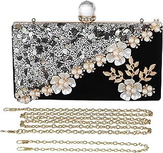 UBORSE Clutch Damen Abendttasche mit Perlen Strass Elegant Luxus Glitter Handtasche Vintage Geldbörse Kleine Umhängetasche...