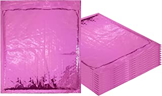 Bubble mailers 8.5 x 11. Padded envelopes 8 1/2 x 11 by Amiff. Pack of 20 Hot Pink cushion envelopes. Exterior size 9.5 x 12 (9 1/2 x 12). Peel & Seal. Glamour Metallic foil. Mailing & shipping.